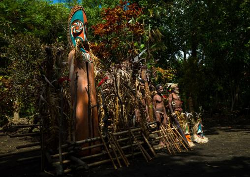 Portrait of chieftain Etul on the Rom dance area in front of a giant slit drum, Ambrym island, Fanla, Vanuatu