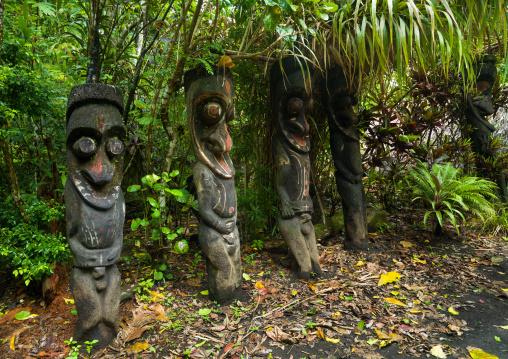 Fern tree grade figures in the jungle, Ambrym island, Olal, Vanuatu