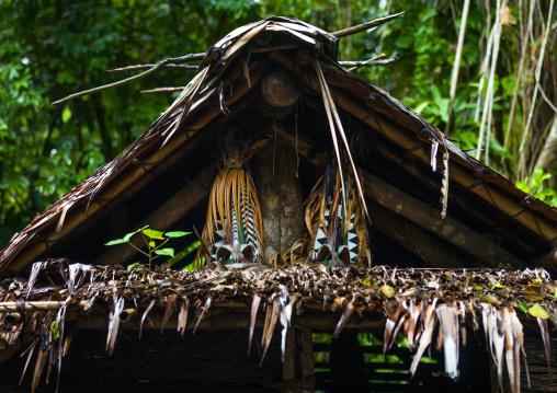 Rom dance masks inside a nakamal house, Ambrym island, Olal, Vanuatu