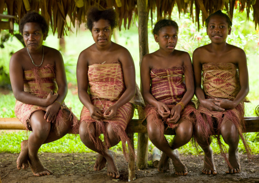 Ni-Vanuatu teenage girls in traditional clothing, Sanma Province, Espiritu Santo, Vanuatu