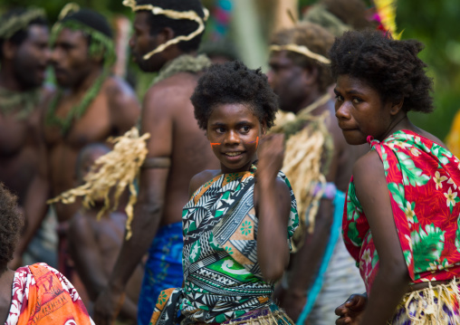 Traditional dance with girls in colorful clothes, Tanna island, Epai, Vanuatu