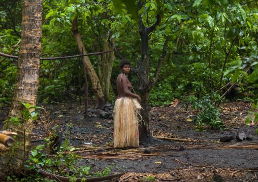 Topless woman with a traditional grass skirt, Tanna island, Yakel, Vanuatu