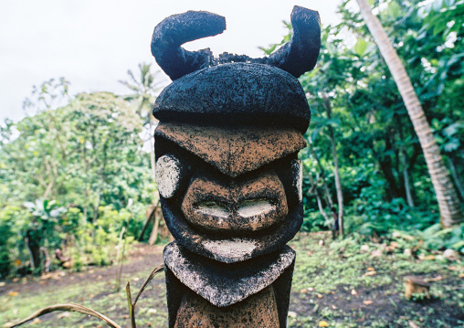 Grade statues in fern trees in the forest, Malampa province, Malekula island, Vanuatu
