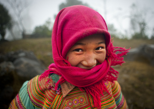 Flower hmong girl with a pink veil, Sapa, Vietnam