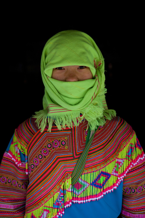 Veiled flower hmong girl, Sapa, Vietnam