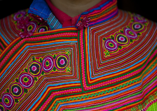Detail of a traditional flower hmong dress, Sapa, Vietnam