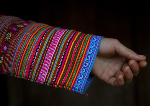 Sleeve of a flower hmong traditional dress, Sapa, Vietnam