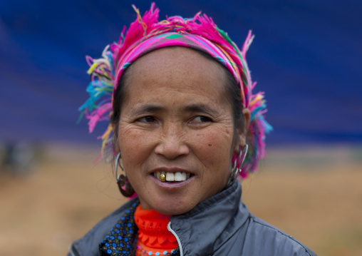 Woman with a colourful headscarf, Sapa, Vietnam
