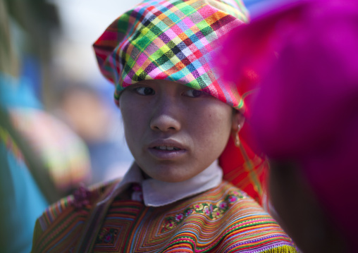 Flower hmong woman with a headscarf, Sapa, Vietnam