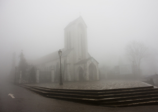 Church in the fog, Sapa, Vietnam