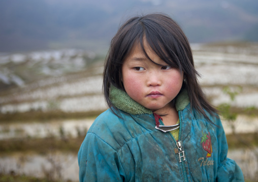 Black hmong young girl in front of terrace paddy fields, Sapa, Vietnam