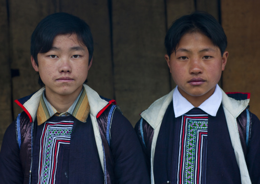 Black hmong boys in traditional clothes, Sapa, Vietnam