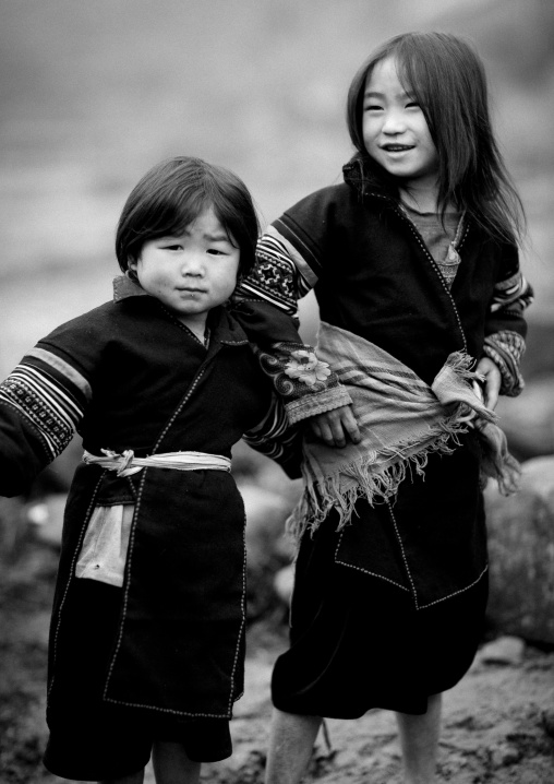 Black hmong kids in traditional clothes, Sapa, Vietnam