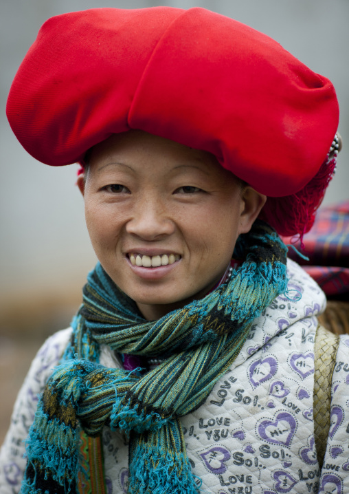 Red dzao woman with a red headgear, Sapa, Vietnam