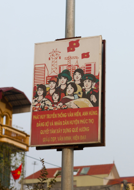 Propaganda billboard of the communist party, Hanoi, Vietnam