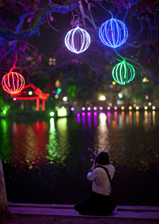 Lanterns on hoan kiem lake, Hanoi, Vietnam