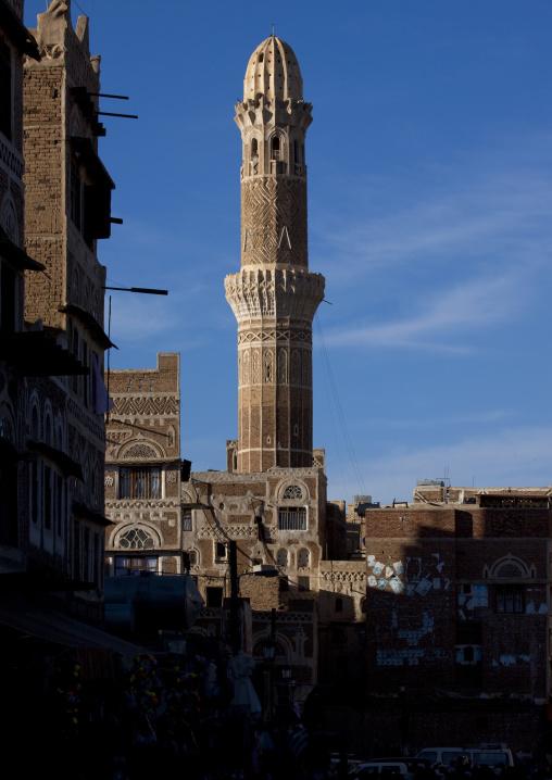 Traditionally Sculpted Minaret, Sanaa, Yemen