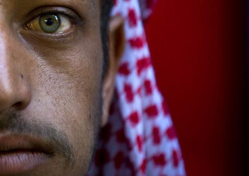 Close-up On A Blue-eyed Man Chewing Qat, Sanaa, Yemen