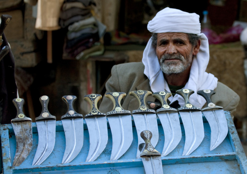 Old Man Selling Beautifully Decorated Jambiya In Sanaa Souq, Yemen