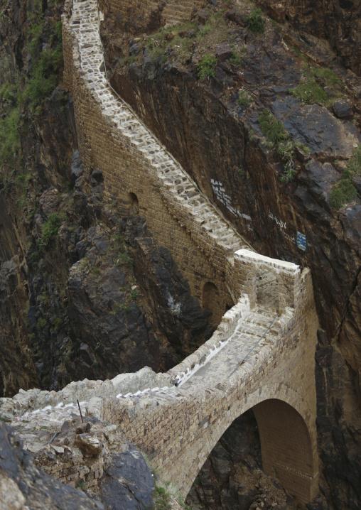 The Shahara Bridge Over A Rocky Gorge, Yemen