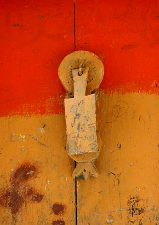Door Knocker On A Red And Orange Wooden Door, Sanaa, Yemen