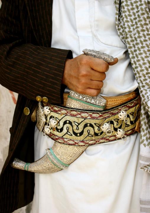 Detail Of A Man  Firmly Holding His Jambiya, Yemen