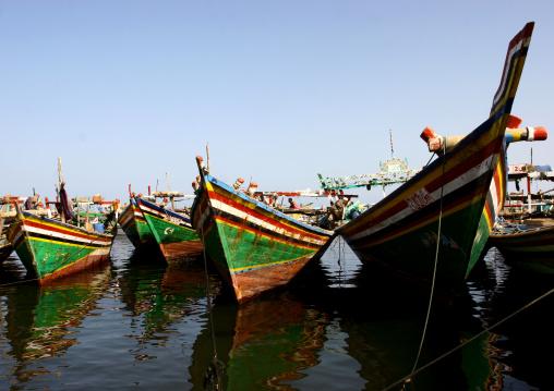 Colourful Dhows In Al Hodeidah, Yemen