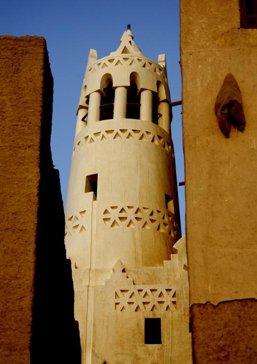 Sculpted Minaret In Shibam Mosque, Yemen