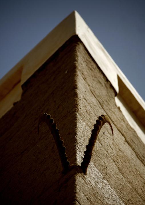 Ibex Horns Hung On The Wall Of A House, Wadi Doan, Yemen