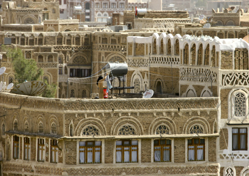 Traditional Storeyed Tower Houses Built Of Rammed Earth In The Old Fortified City Of Sanaa, Yemen