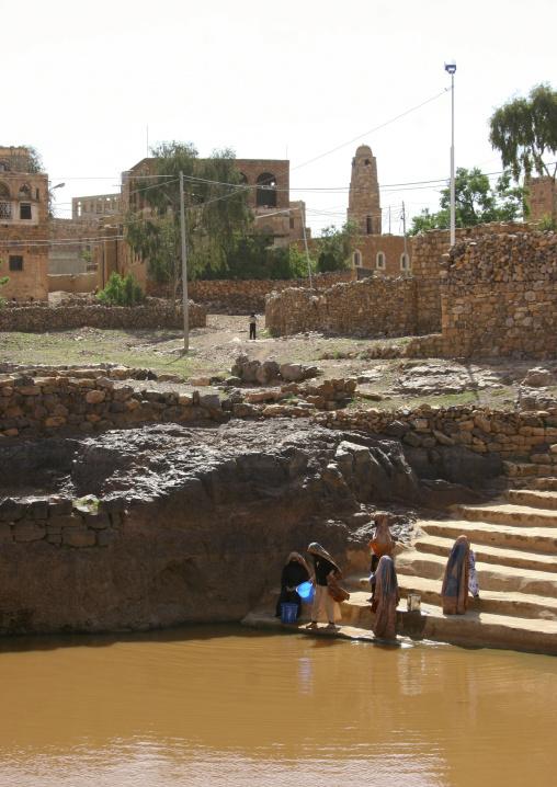 Women Fetching Water At The Cistern, Yemen