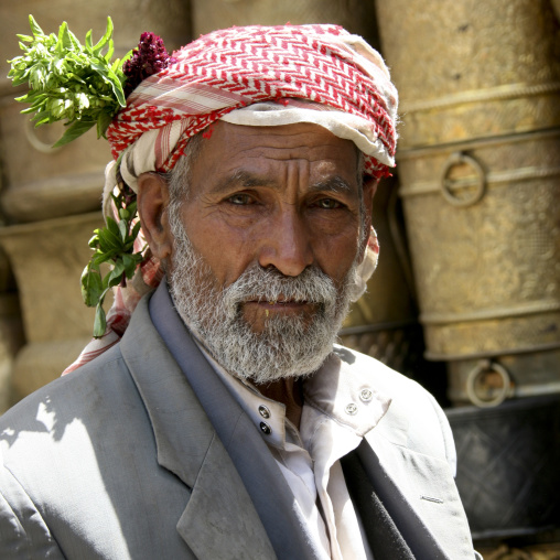 Old Yemeni Man With Leaves And A Flower In His Turban, Sanaa, Yemen
