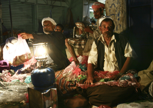 Two Qat Sellers Selling Kat Leaves, Al Hodeida' Souq, Yemen
