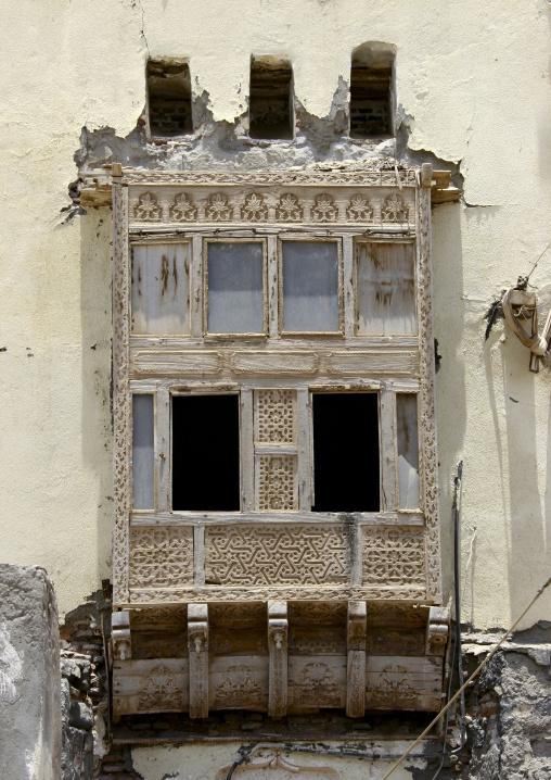 View Of A Wooden Mashrabiya,  Mocha, Yemen