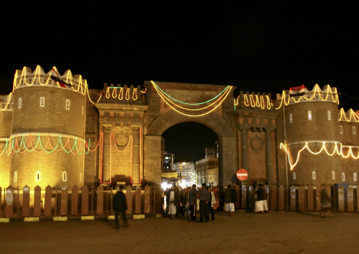 Night View Of The Floodlit Bab Al Yemen, Sanaa, Yemen