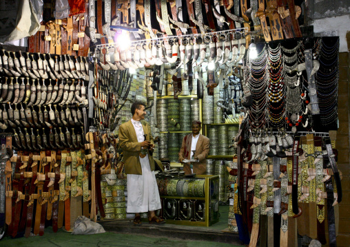 Two Men Talking In A Dagger Shop In The Souq, Sanaa, Yemen