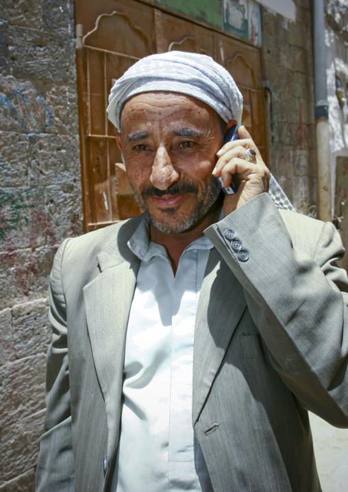 Smiling Man On The Phone, Sanaa, Yemen