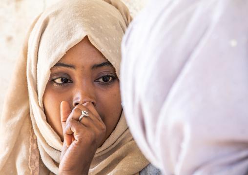 Veiled harari woman, Harari Region, Harar, Ethiopia