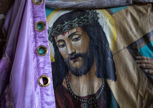 Jesus christ painting in nakuto lab rock church, Amhara Region, Lalibela, Ethiopia