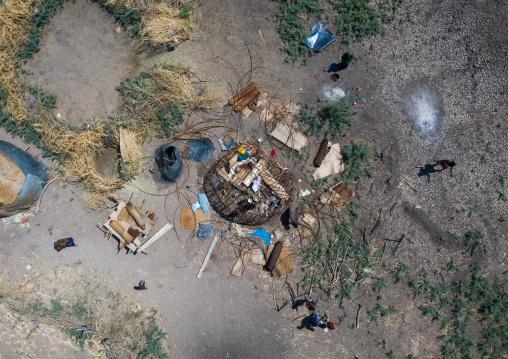 Aerial view of afar people building a hut, Afar Region, Afambo, Ethiopia