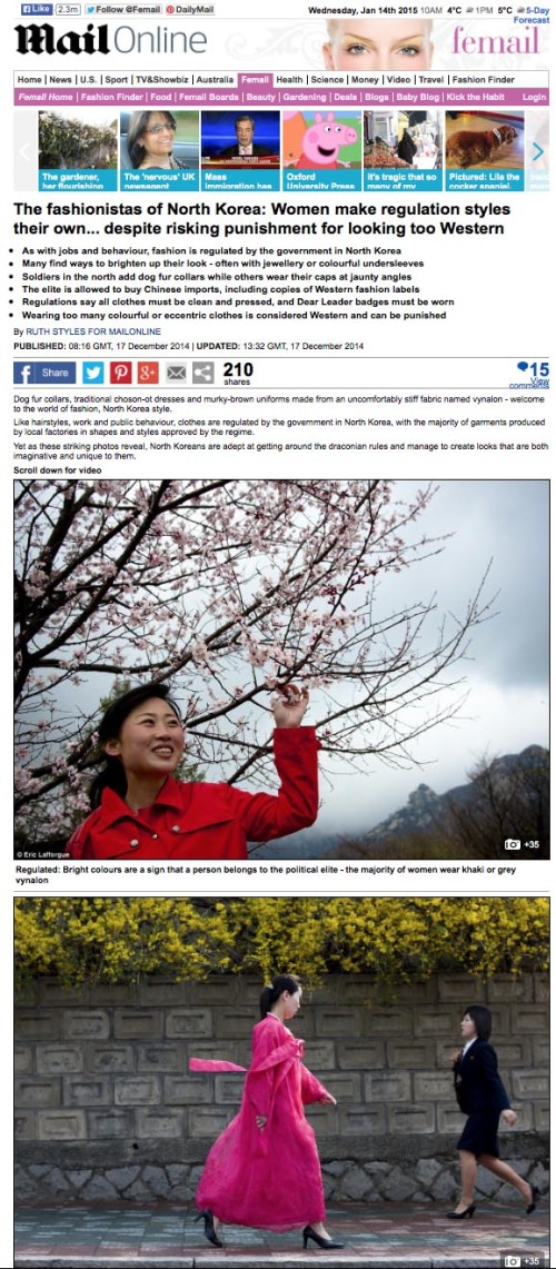 Daily Mail - Fashion in North Korea