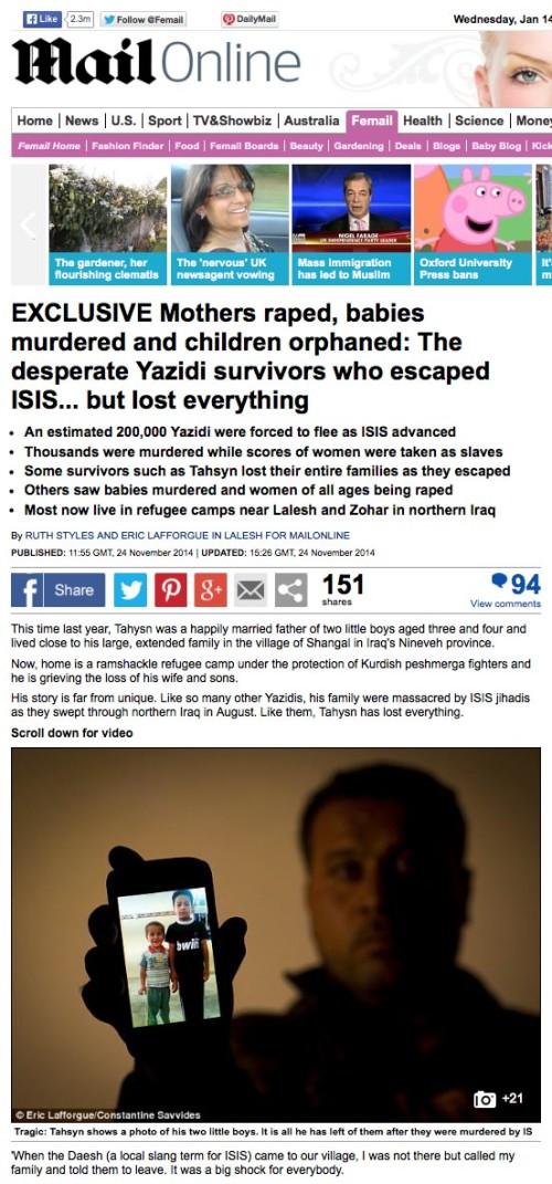 Daily Mail - Iraqi Yazidi