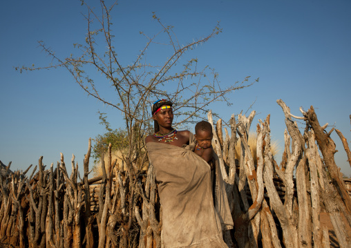 Mucawana Woman With Her Baby In Her Arms, Village Of Mahine, Angola