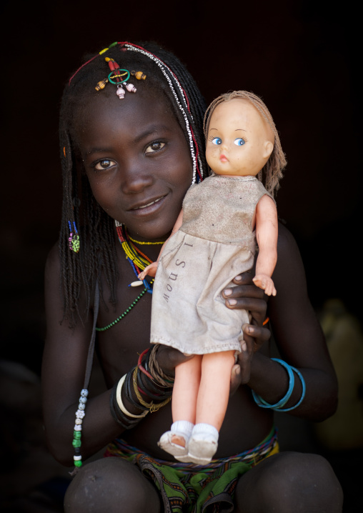 Mucawana Girl Called Katchika Who Made An African Plait On Her Western Doll, Village Of Soba, Angola