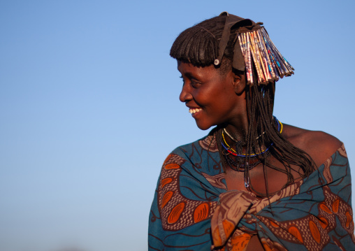 Portrait of a smiling Muhacaona  tribe woman, Cunene Province, Oncocua, Angola