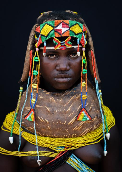 Portrait of a Mumuhuila tribe woman, Huila Province, Chibia, Angola