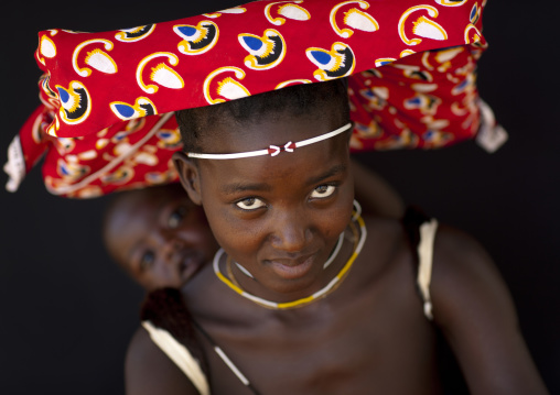 Mucubal Woman With Ompota Carrying Her Baby On Her Back, Virie Area, Angola