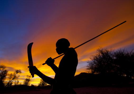 Mucubal Boy With Omotungo Knife At Sunset, Virie Area, Angola