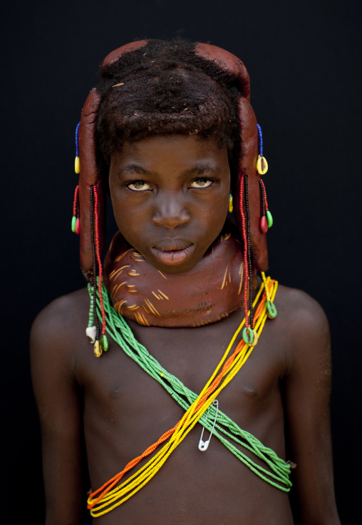 Mwila Girl With The Traditional Vikeka Mud Necklace, Angola