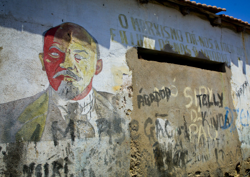 Old Communist Propaganda Wall Painting With Lenin, Namibe Town, Angola